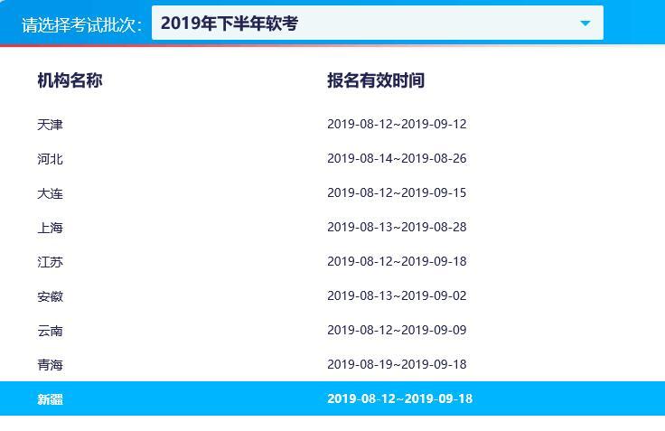 新疆2019下半年计算机软件水平考试报名时间已公布
