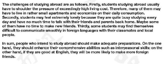 2018年12月英语四级作文范文及解析:留学的挑战