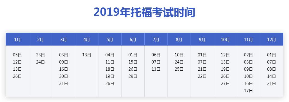 2019年3月托福(toefl)考试时间安排表已公布