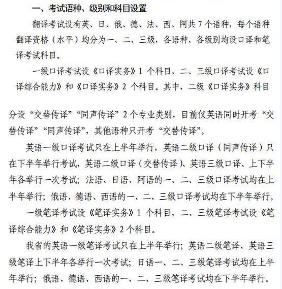 2019年度翻译专业资格考试科目已公布