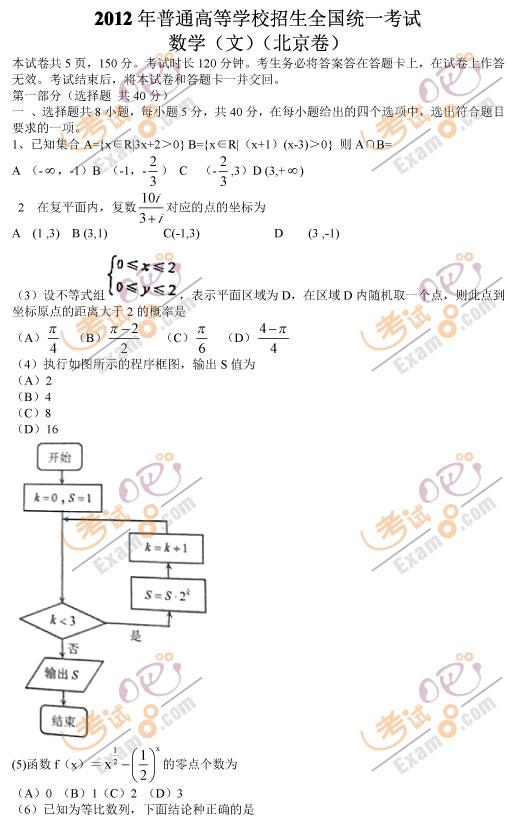 考试吧:2012年北京卷高考数学试题(文科)