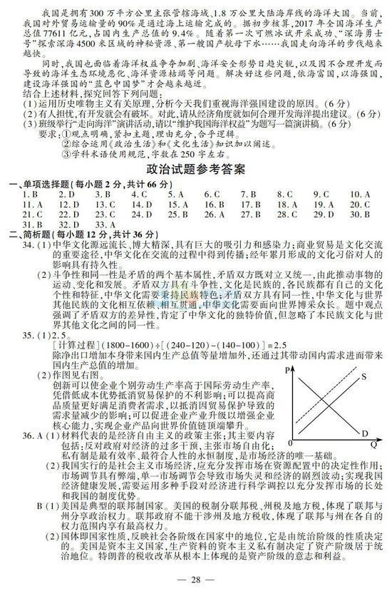 2018年江苏高考政治试题及答案(官方版)