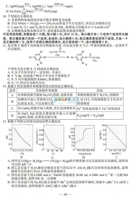 2018年江苏高考化学试题及答案(官方版)