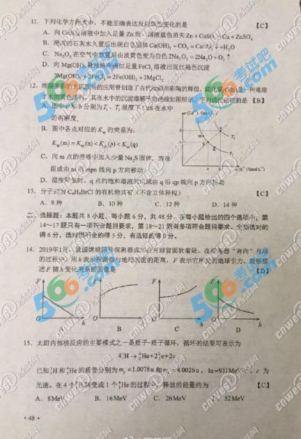 2019年高考重庆理综真题及答案(官方版)