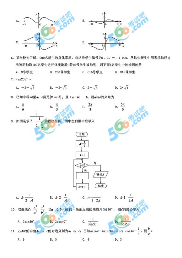 2019年河北高考数学真题及答案(文科 清晰版)