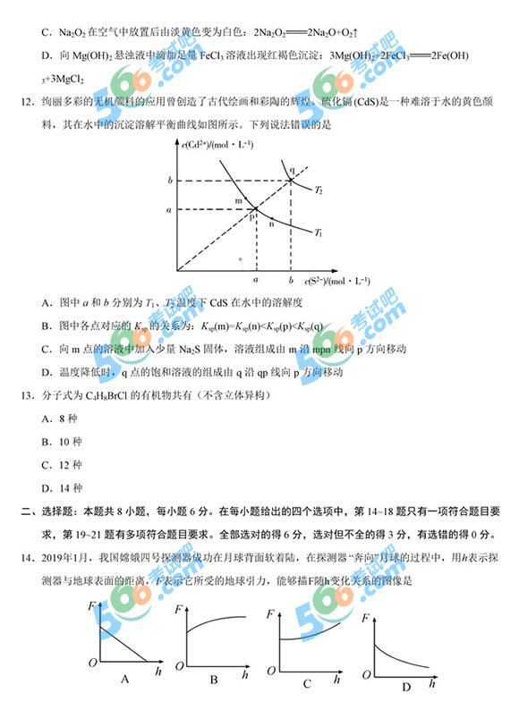 2019年高考全国卷Ⅱ理综真题及答案(图片清晰版)