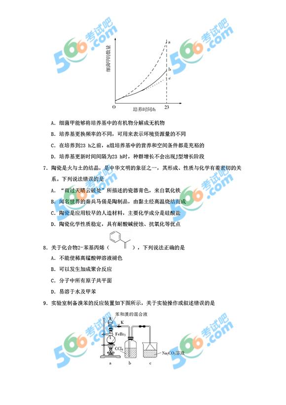 2019年高考全国卷I理综真题及答案(图片清晰版)