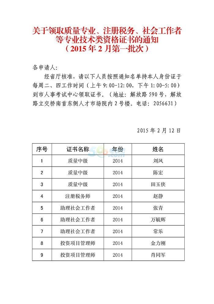 2014年安徽蚌埠质量工程师考试合格证书领取通知