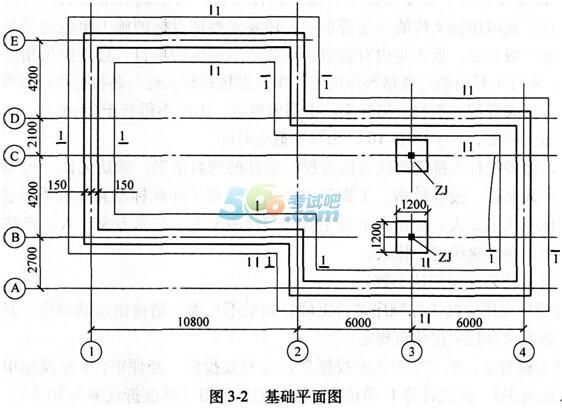 基础工程,基础平面图如图3-2所示,现浇钢筋混凝土独立基础的尺寸