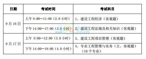 山西2017一级建造师考试时间:9月16日、17日