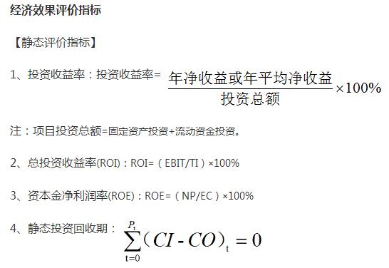 2019一级造价工程师《造价管理》常用公式:经济效果评价指标