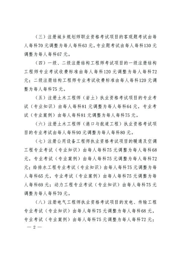 贵州关于调整有关专业技术人员资格考试收费标准的通知