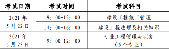 北京2021年二级建造师考试时间:5月22日、23日