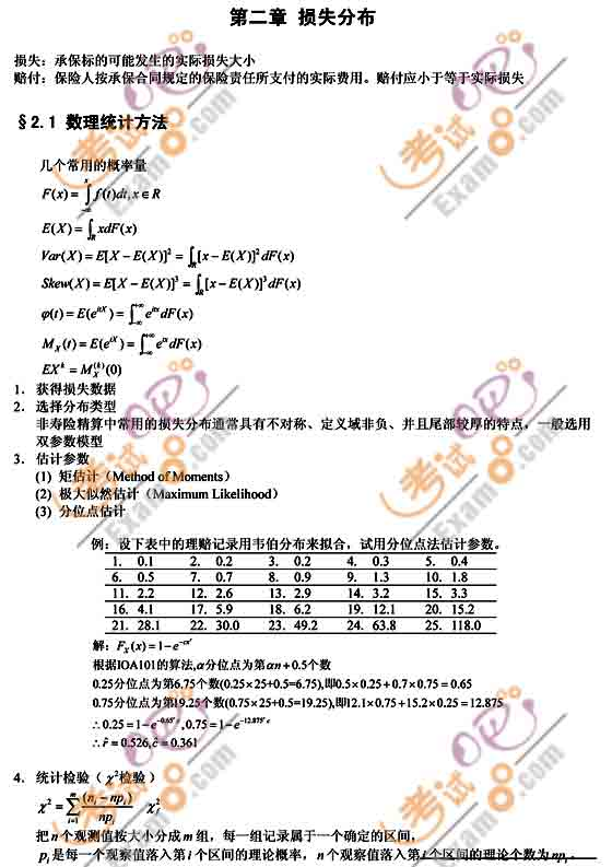 2010年中国精算师《非寿险精算实务》笔记