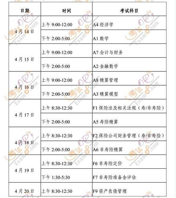 2012年中国精算师资格考试时间