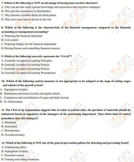 2012年ACCA考试科目F1考前必做题及答案