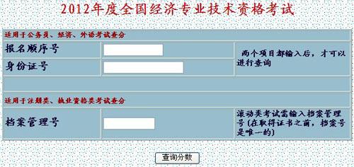 2012新疆经济师成绩查询时间入口
