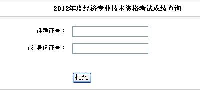 2012年安徽经济师成绩查询