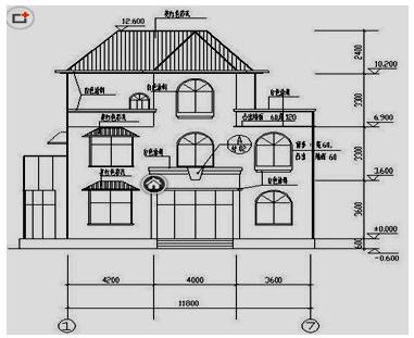 两点透视手绘建筑外轮廓