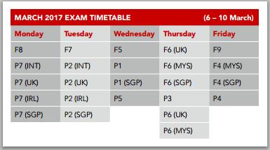 2017年3月ACCA考试时间及安排已公布