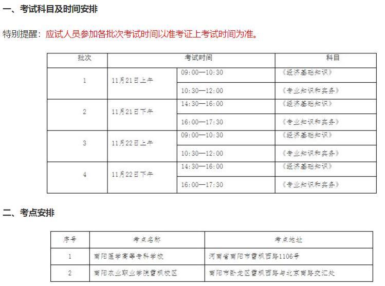 河南南阳2020年初中级经济师考试温馨提示