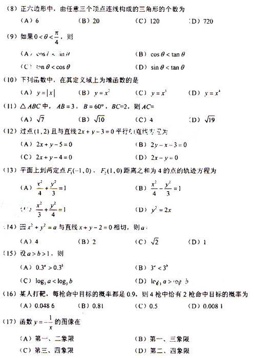 2009年成人高考数学试题及答案(高起点文史类)