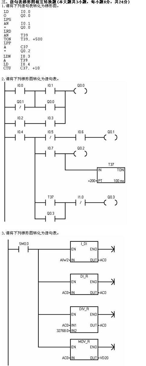 双重互锁控制电路梯形图