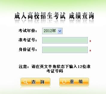 2012年陕西成人高考成绩查询入口 点击进入
