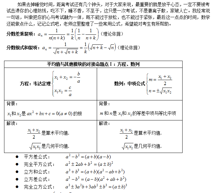 2014mpa联考数学常用公式