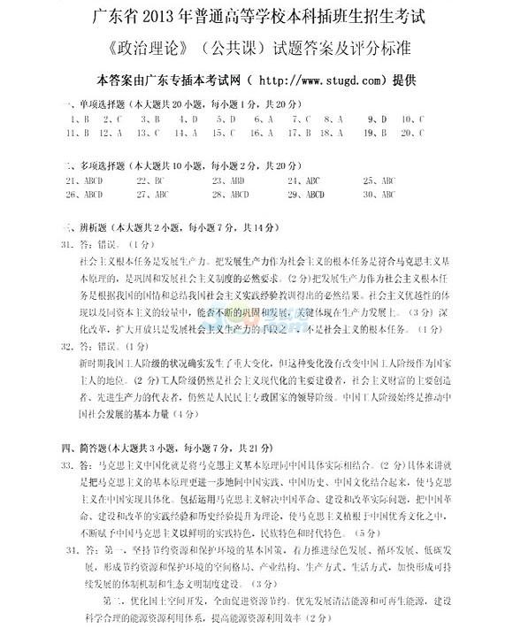 2013年广东专升本考试《政治》试题及答案第