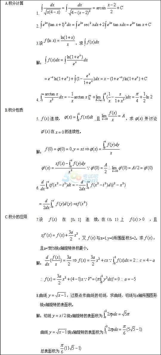 2017年成人高考专升本《高等数学》章节梳理(3)