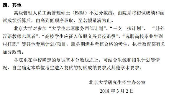 北京大学2018年考研复试分数线已公布
