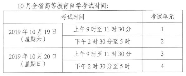 湖南2019年10月自考时间:10月19日-20日