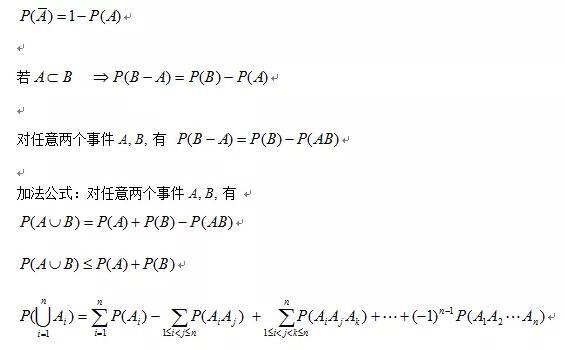 2020考研数学概率论必背公式:概率的定义及其计算