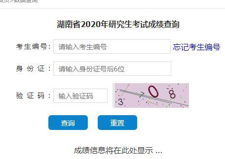 湖南2020年考研成绩查询入口已开通 点击进入