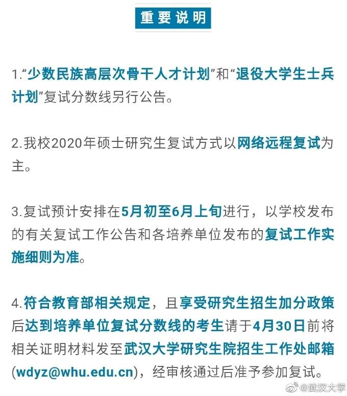 武汉大学2020MPA复试分数线已公布