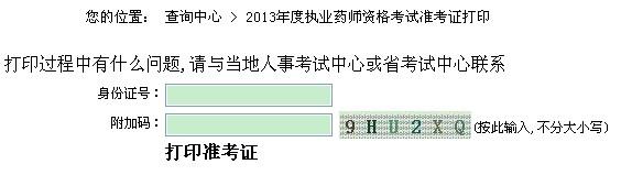 江苏2013年执业药师准考证打印入口