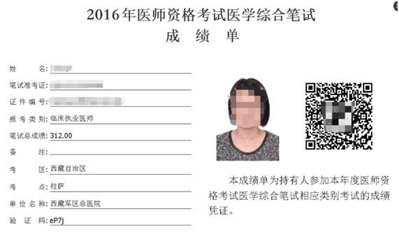 2016年医师资格考试医学综合笔试成绩发布通知