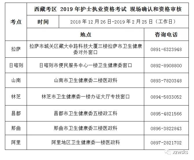 西藏2019年护士执业资格考试报名官方公告