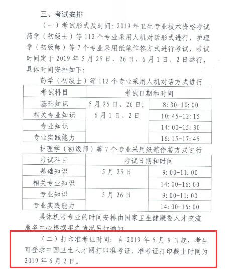 新疆自治区2019年卫生资格必威体育betwayAPP下载准考证打印时间