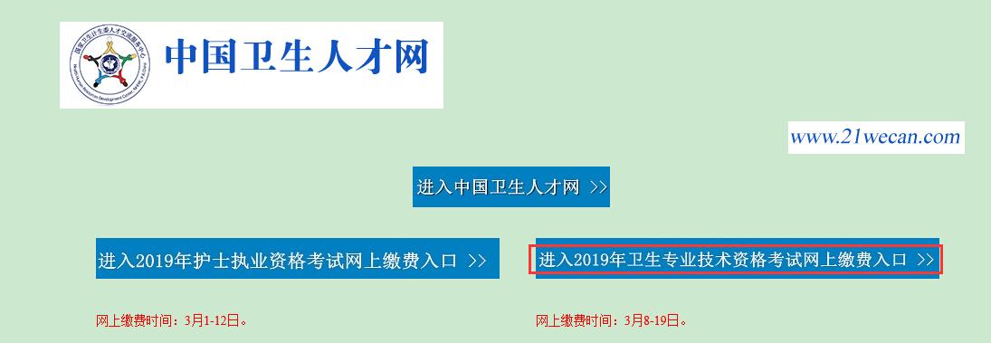 中国卫生人才网2019年主管护师考试网上缴费入口