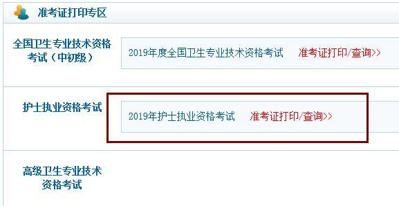 贵州2019年护考准考证打印系统为中国卫生人才网