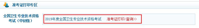 上海2019卫生资格准考证打印系统:中国卫生人才网
