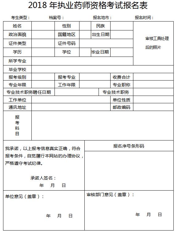 2019年执业药师考试报名表填写方法(附报名表样本)