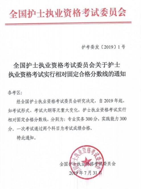 江苏2019年执业护士必威体育betwayAPP下载合格分数线已公布