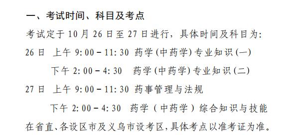 浙江2019年执业药师考试科目已公布