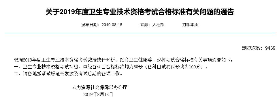天津2019年卫生资格考试合格分数线已公布