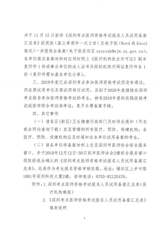 关于做好深圳考点2020年医师资格考试报名备案工作的通知