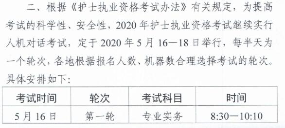 2020年全国护士执业资格考试时间已公布