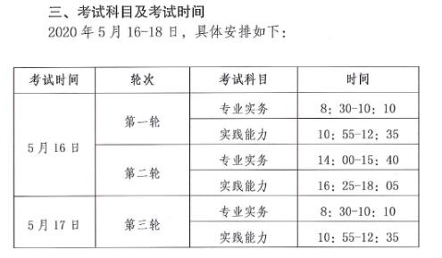 云南省2020年护士执业资格考试时间及具体安排